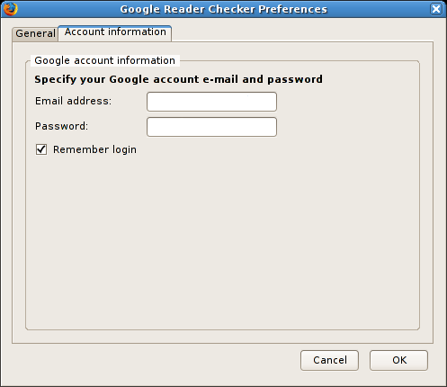 Google Reader Watcher account information
