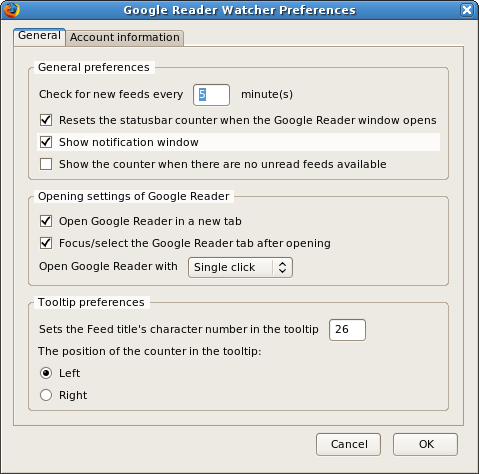 Google Reader Watcher general preferences