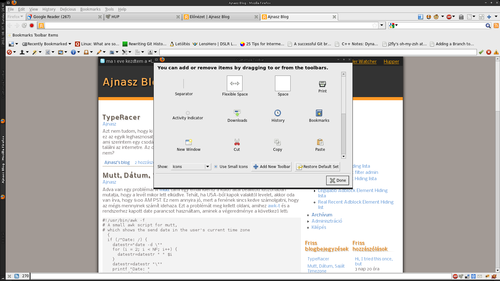 Mozilla Firefox Customize Toolbar window